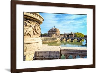 Rome, Italy. Castel Sant'Angelo and Ponte Sant'Angelo seen from Ponte Vittorio Emanuele II.--Framed Photographic Print
