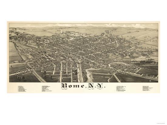 Rome, New York - Panoramic Map-Lantern Press-Art Print