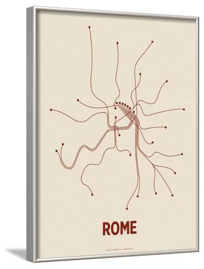 Rome (Newsprint & Maroon)-Line Posters-Framed Art Print