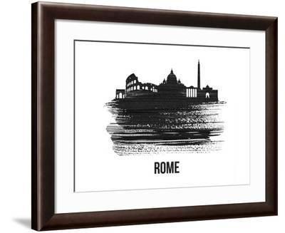 Rome Skyline Brush Stroke - Black II-NaxArt-Framed Art Print