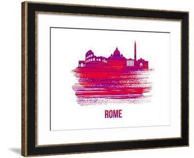 Rome Skyline Brush Stroke - Red-NaxArt-Framed Art Print