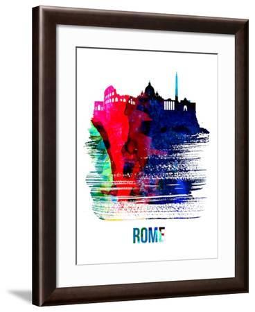 Rome Skyline Brush Stroke - Watercolor-NaxArt-Framed Art Print