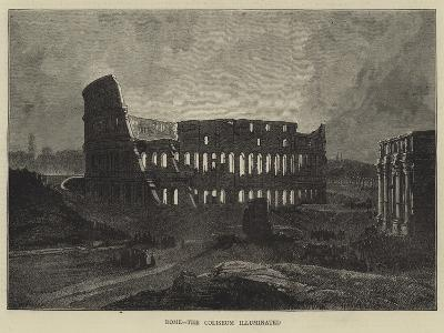 Rome, the Coliseum Illuminated-Charles Auguste Loye-Giclee Print