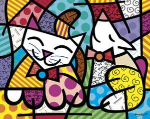 Happy Cat and Snob Dog by Romero Britto