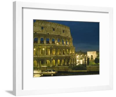 Romes Colosseum Illuminated at Night-Richard Nowitz-Framed Photographic Print