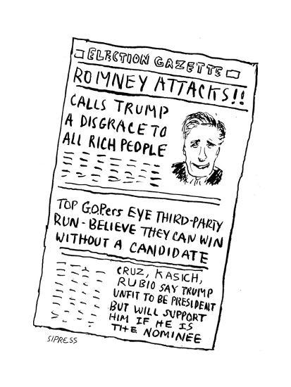 Romney Attacks! - Cartoon-David Sipress-Premium Giclee Print