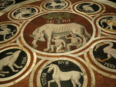 Romulus and Remus in Marble Work in the Duomo Di Sienna, Siena, Tuscany, Italy, Europe-Godong-Photographic Print