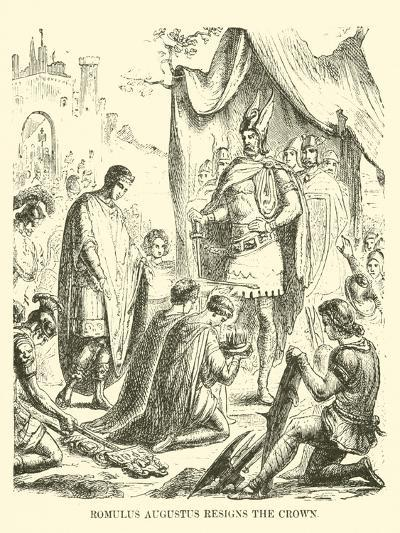 Romulus Augustus Resigns the Crown--Giclee Print