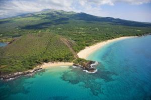 Aerial View of Maui, Little Beach and Big Beach, Hawaii by Ron Dahlquist