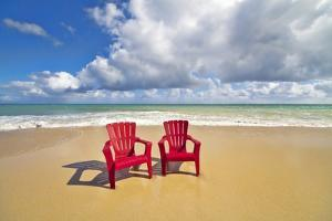 Beach Chairs Beckon on Baldwin Beach on the North Shore of Maui, Hawaii by Ron Dahlquist