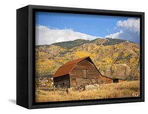 The famous Steamboat Barn, Steamboat Springs Ski Area in the background with yellow aspen trees, Co by Ron Dahlquist