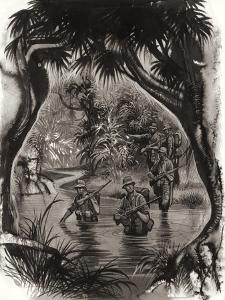 Anzac Troops Crossing a Jungle River During a World War II Patrol by Ron Embleton