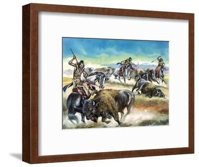 Native American Indians Killing American Bison