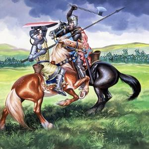 Robert the Bruce, King of Scotland About to Kill Sir Henry De Bohum by Ron Embleton