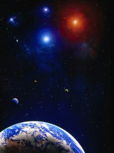 Illustration of Earth and a Planet by Ron Russell