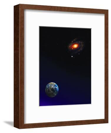 Illustration of Earth, Stars and Galaxy