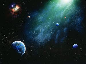 Illustration of Planets and Glowing Star by Ron Russell