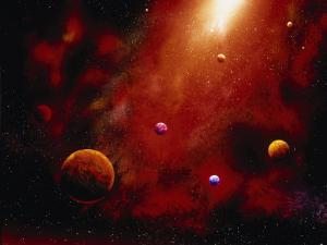Illustration of Planets and Red Glowing Star by Ron Russell
