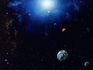 Illustration of Space and Planets by Ron Russell