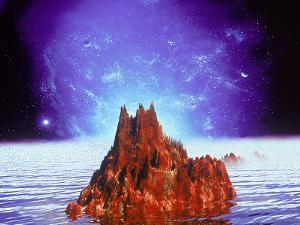 Mountain and Ocean in Space by Ron Russell