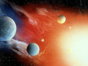 Space Illustration of Illuminated Planets by Ron Russell