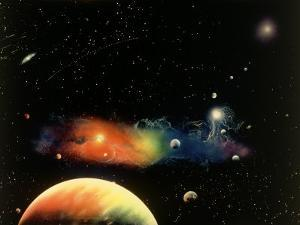 Space Illustration of Stars and Planets by Ron Russell