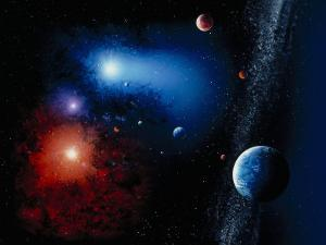 Space Illustration Titled Novae Stella by Ron Russell