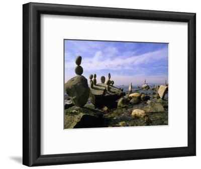 Balanced Rocks Along Seawall, Stanley Park, Vancouver, British Columbia, Canada.