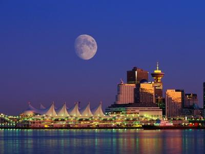 Moon Over Vancouver and Coal Harbor by Ron Watts