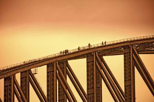 Australia, Sydney. People Crossing the Sydney Harbor Bridge by Rona Schwarz