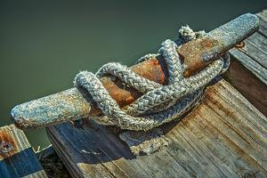 Close Up of Boat Cleat and Rope by Rona Schwarz