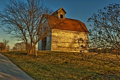 USA, Indiana, Rural Scene of Red Roofed Barn