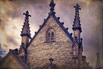 USA, Indianapolis, Indiana. the Gothic Chapel at Crown Hill Cemetery