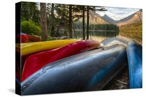 USA, Montana, Glacier National Park. Two Medicine Lake with Canoes in Foreground by Rona Schwarz