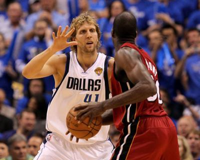 Miami Heat v Dallas Mavericks - Game Four, Dallas, TX -June 7: Dirk Nowitzki and Joel Anthony