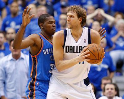 Oklahoma City Thunder v Dallas Mavericks - Game Two, Dallas, TX - MAY 19: Dirk Nowitzki and Kevin D