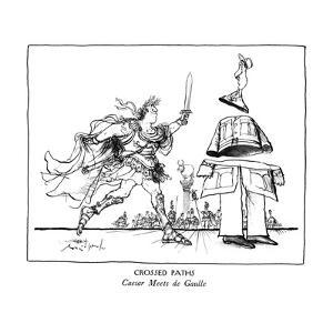 CROSSED PATHS-Caesar Meets de Gaulle - New Yorker Cartoon by Ronald Searle