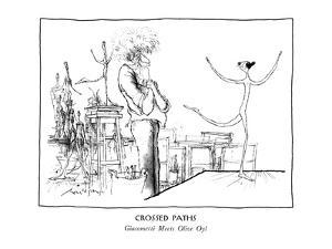 CROSSED PATHS-Giacometti Meets Olive Oyl - New Yorker Cartoon by Ronald Searle
