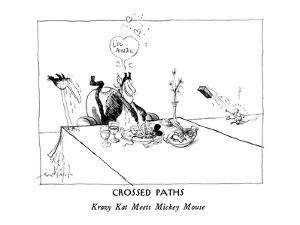 CROSSED PATHS-Krazy Kat Meets Mickey Mouse - New Yorker Cartoon by Ronald Searle