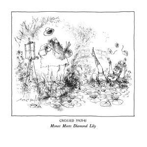 CROSSED PATHS-Monet Meets Diamond Lily - New Yorker Cartoon by Ronald Searle