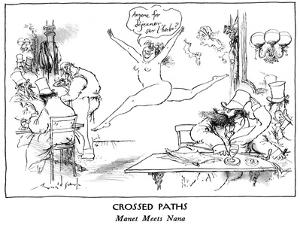 CROSSED PATHS - New Yorker Cartoon by Ronald Searle