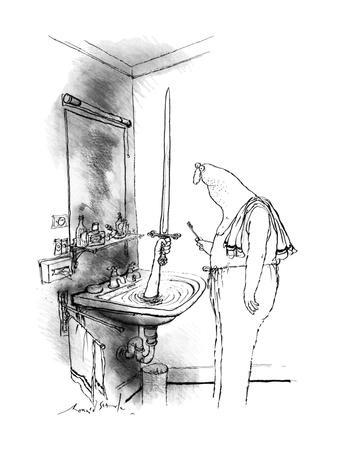 Man in bathroom. A hand reaches out of a water-filled sink holding up a sw? - New Yorker Cartoon