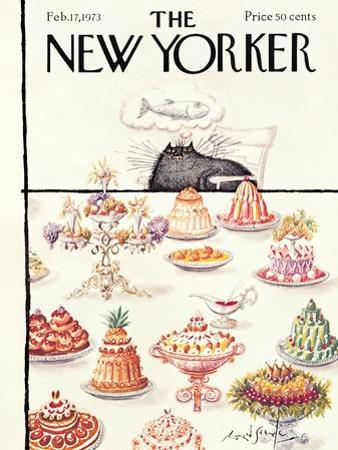 The New Yorker Cover - February 17, 1973 by Ronald Searle