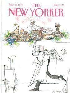The New Yorker Cover - March 19, 1990 by Ronald Searle