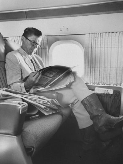 Ronald W. Reagan, Candidate for Governor of California, Traveling on Plane to Campaign in San Jose-Bill Ray-Photographic Print