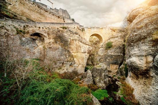 Ronda Bridge and Canyon, Spain-amok-Photographic Print