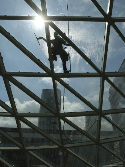 Roof Cleaning, Warsaw, Poland--Photographic Print