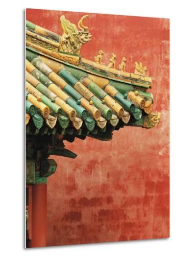 Roof Decoration on Building in Forbidden City-Bruno Ehrs-Metal Print
