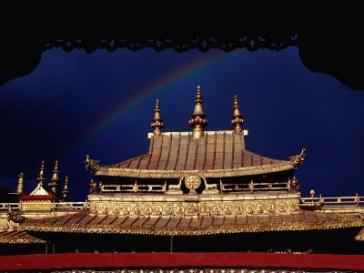 Roof of Jokhang Temple Framed by Lacework, Tibetan Old Quarter-Krzysztof Dydynski-Photographic Print