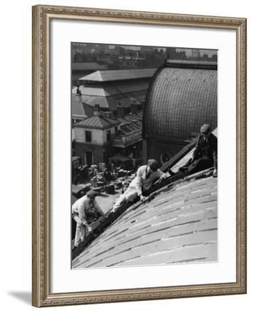 Roof Workers--Framed Photographic Print